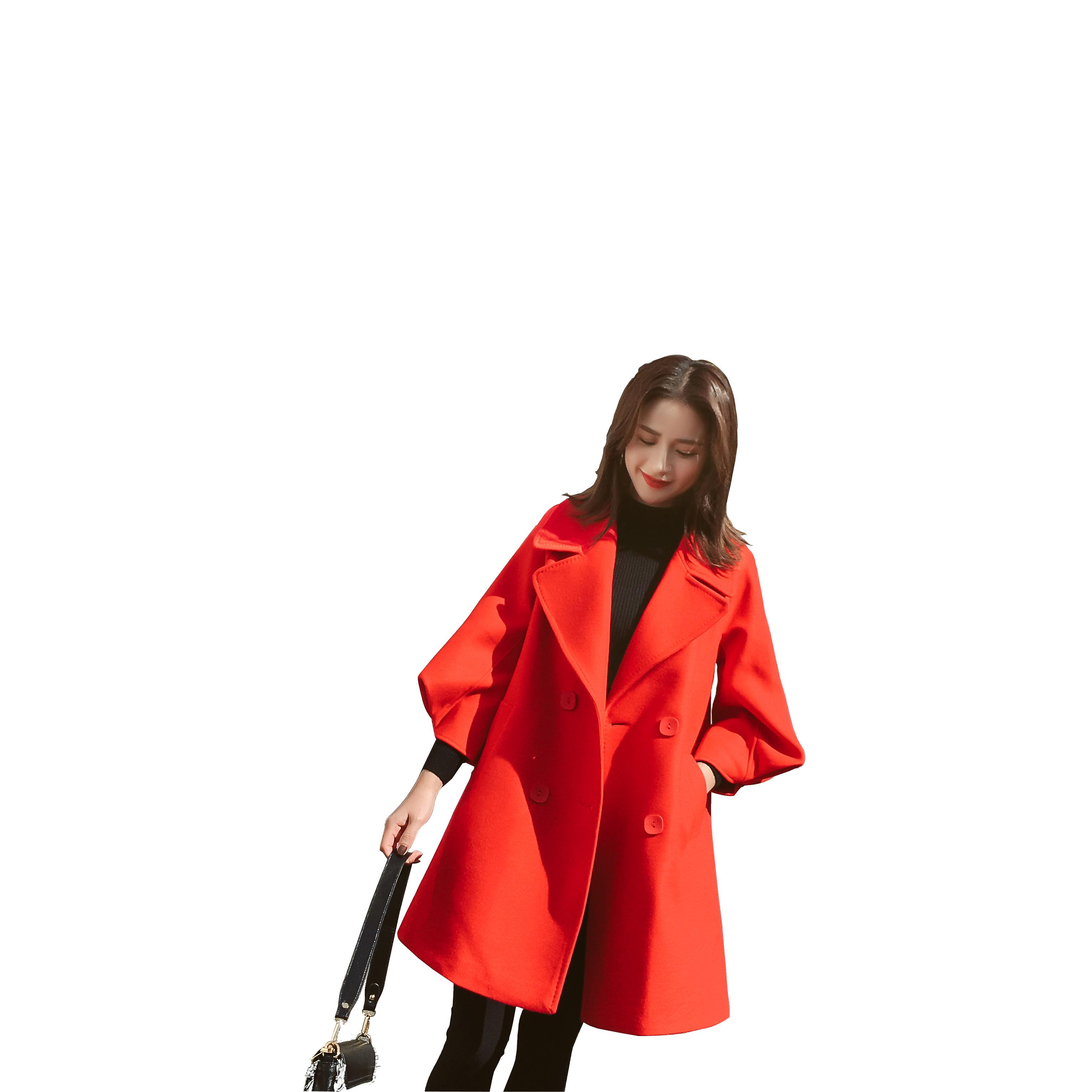 2018韩版新款春秋毛呢外套女中长款斗篷灯笼袖小个子学生呢大衣女