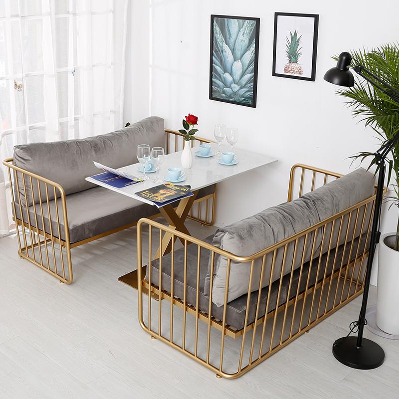 北欧沙发网红款小户型客厅铁艺简约现代美容院茶几组合卧室三人