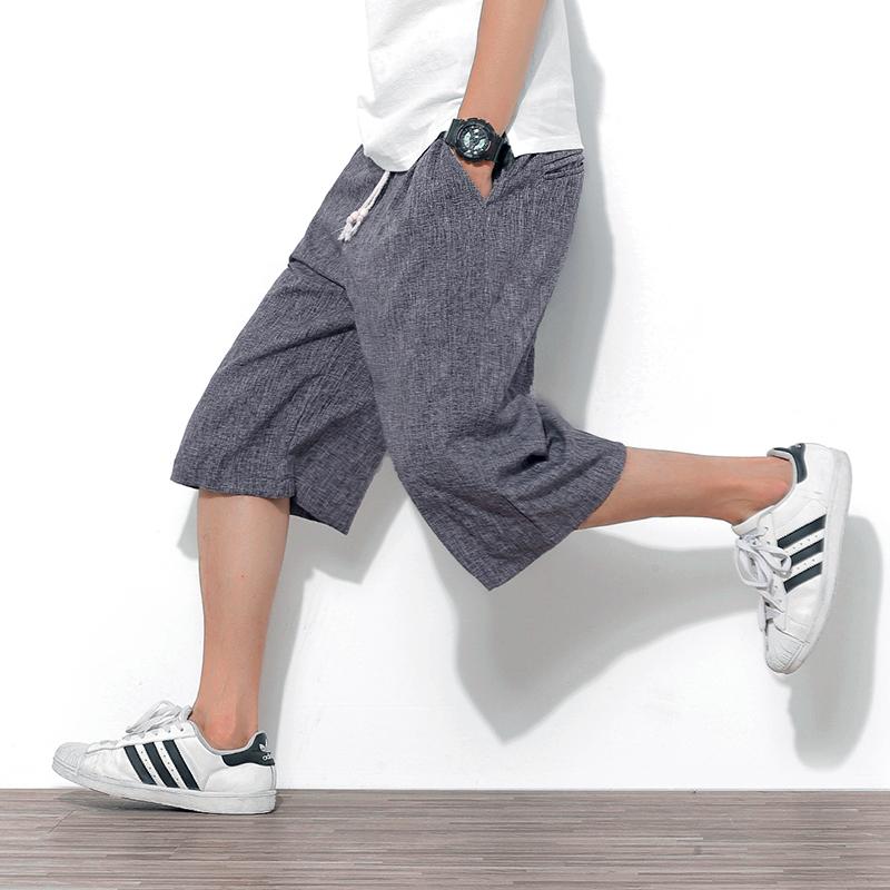 麻料短裤男夏季