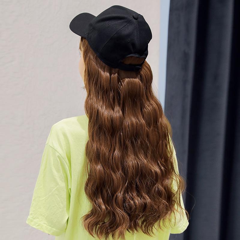 黛秀帽子假发一体女长发长卷发羊毛卷大波浪自然网红逼真全头套