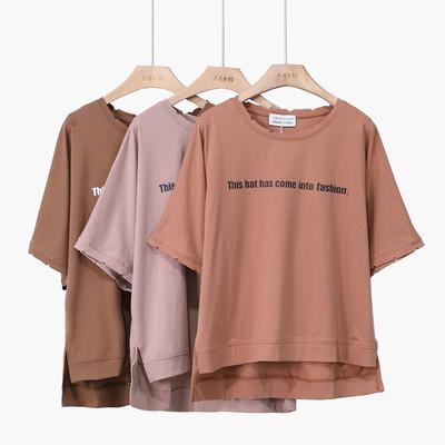 六号衣馆2018夏季新款前短后长蝙蝠纯棉T恤小字母印花女t恤