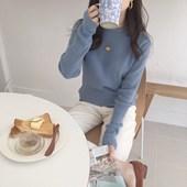 韩国chic秋冬新品 敲美雾霾蓝纯色显瘦内搭打底坑条针织毛衣