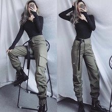 New style casual trousers in autumn and winter of 2018, overheated trousers in Europe and America, hip-hop women's waist straps and high waist overalls