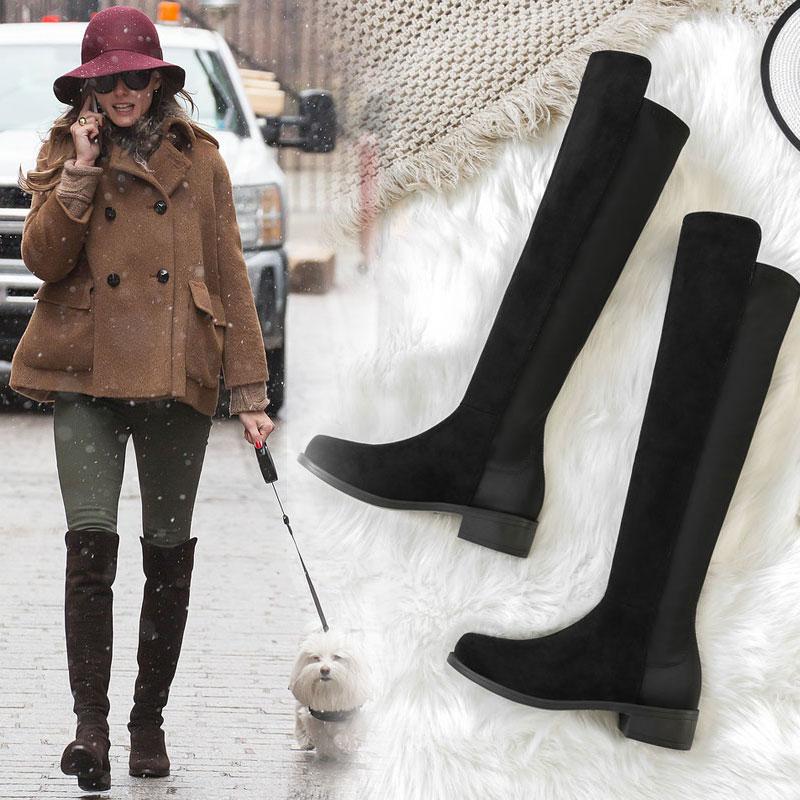 2017秋冬新款长靴女过膝瘦腿弹力靴高筒靴平底粗跟加绒女鞋靴5050
