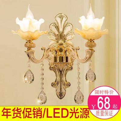 欧式led锌合金玉石水晶壁灯卧室床头客厅背景壁灯现代创意壁灯具哪个好