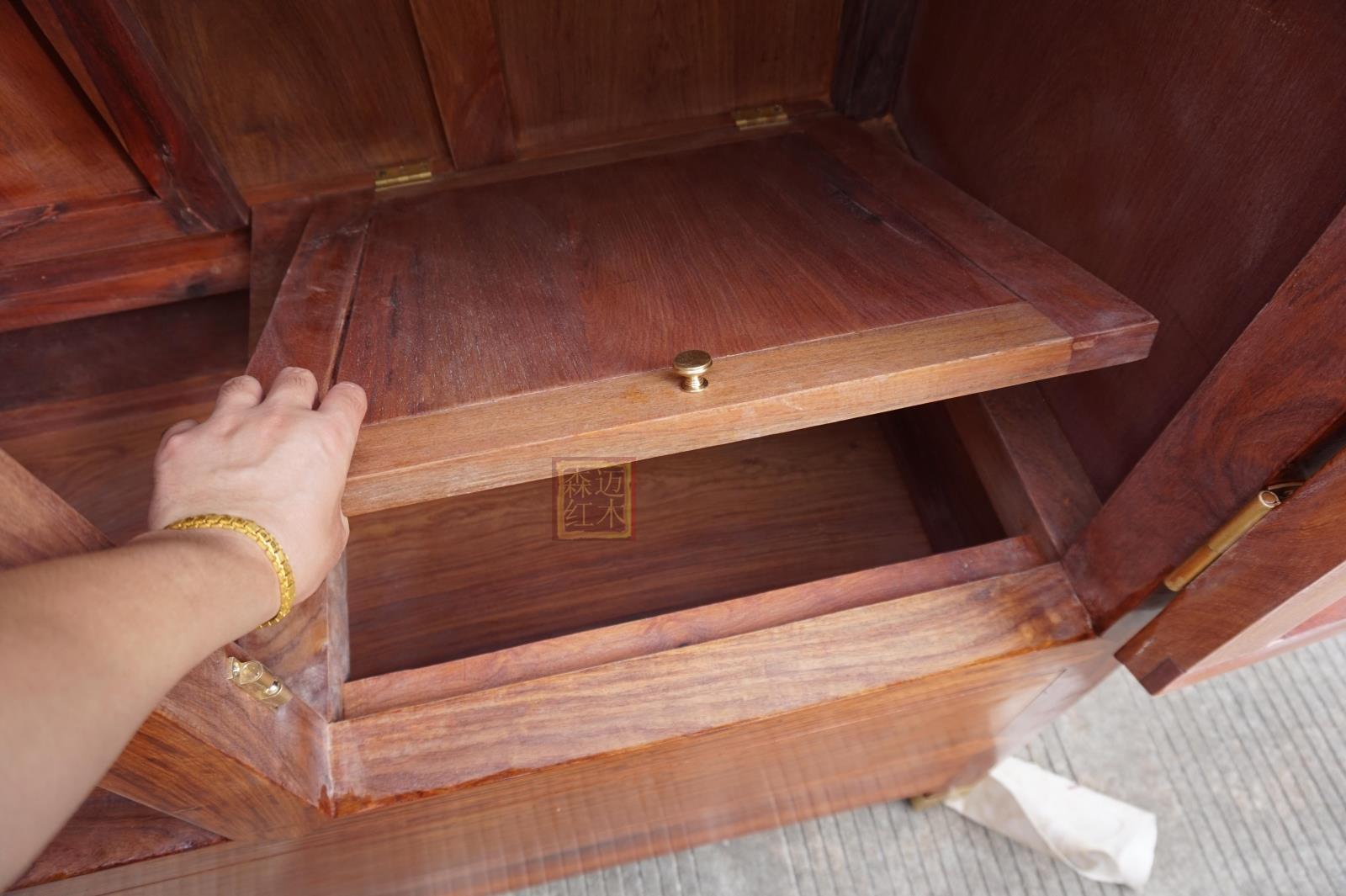 缅甸花梨红木顶箱柜 实木顶箱柜实用收藏加厚独板 四门同料珍品