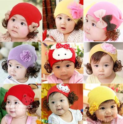 韩版秋冬款宝宝帽婴儿毛线帽儿童帽子假发帽子公主假发套头帽包邮