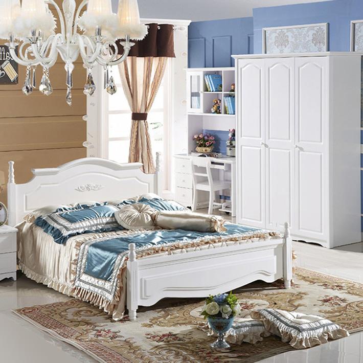 青少年儿童房家具组合套装女孩套房男孩卧室欧式床衣柜书桌纯白色