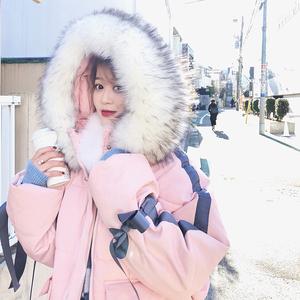 2017韩版大毛领连帽加厚面包服粉色外套女冬宽松棉衣短款软妹棉服