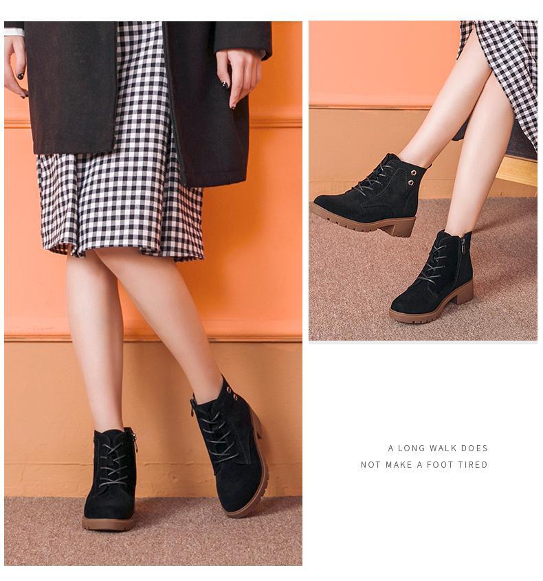 DUSTO/大东2018冬季新款韩版中跟粗跟系带马丁短靴女鞋DW18D3731C