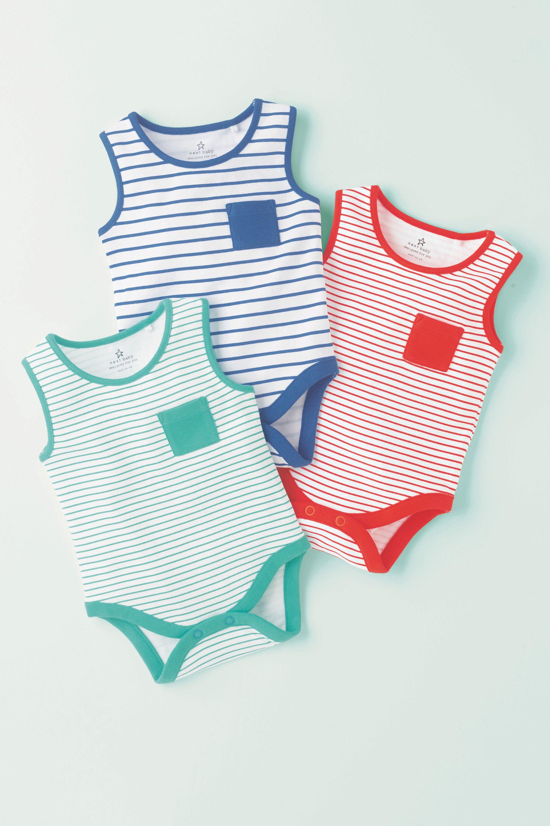 英国订购Next童装正品进口男婴宝宝新生儿彩色条纹包屁衣3件19夏