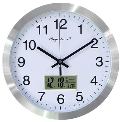 12英寸欧式挂表带日历温度挂钟客厅圆形现代简约静音万年历电子钟有假货吗