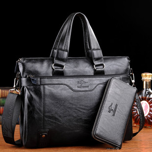 手提包公文包休闲商务男式单肩包软皮休闲时尚 电脑包 凌智袋鼠男士