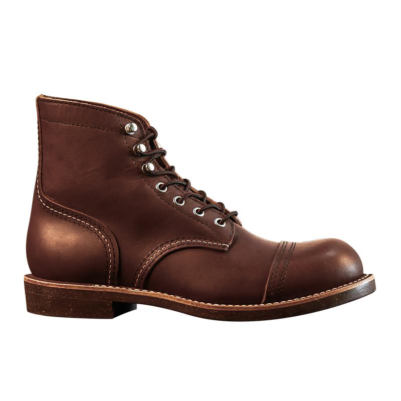 升级版!固特异8111复刻圆头工装靴中帮机车鞋真皮复古美式伞兵靴