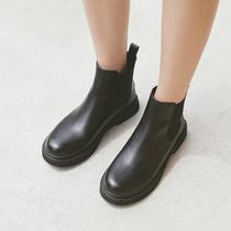 80605DD7冬季新款牛皮厚底切尔西靴女靴2017天美意