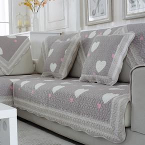 热卖全棉绗缝沙发垫布艺实木坐垫子防滑四季通用田园简约组合纯棉