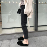 Jiago's shop 2019 spring dress new Korean version chic high-waisted hundred with thin-skinned denim nine-point pants woman