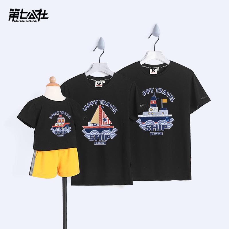 韩版半袖母女装潮一家三口亲子装装2019