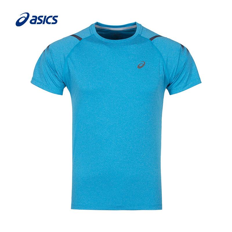 ASICS亚瑟士男式圆领短袖T恤跑步训练健身上衣夜跑2011A258-020