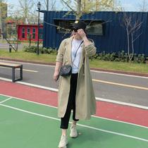 加大码女装秋季新款胖mm宽松显瘦翻领休闲中长款双排四扣风衣外套