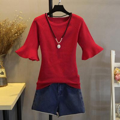 五分袖冰丝针织衫薄短款半袖女2018新款修身套头喇叭袖打底衫上衣