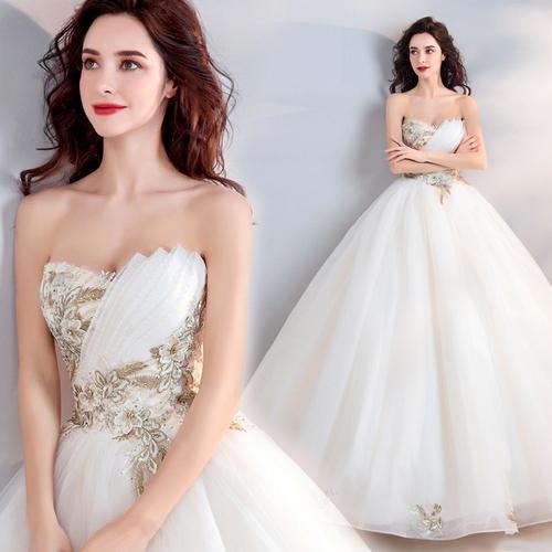 轻奢金色刺绣 优雅抹胸新娘婚纱礼服2018新款 7668