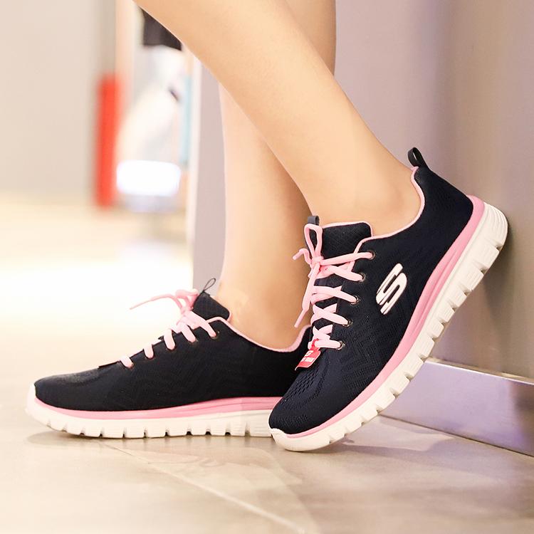 斯凯奇女鞋2019新款运动鞋跑步时尚网面透气防滑休闲鞋12615-NVPK