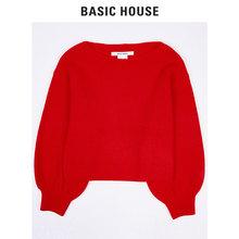 Basic House/百家好19年春季新款针织衫女纯色打底衫长袖HTKT123A图片