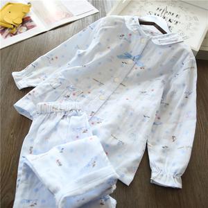 儿童睡衣长短袖全纯棉纱布薄款日系女宝空调家居服套装春夏季新品