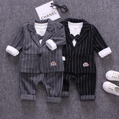 童装2018新款4男童套装纯棉男宝宝秋装1-3周岁儿童三件套小西装潮