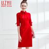 大红针织连衣裙