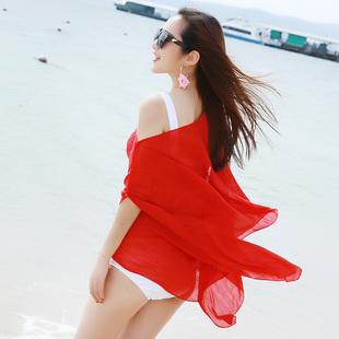 夏季沙滩超大披肩纱巾女韩国百变披肩围巾开车防晒丝巾女珍珠纽扣