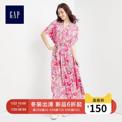 Gap女装 V领和服袖收腰连衣裙女 女士碎花长裙子内搭296257
