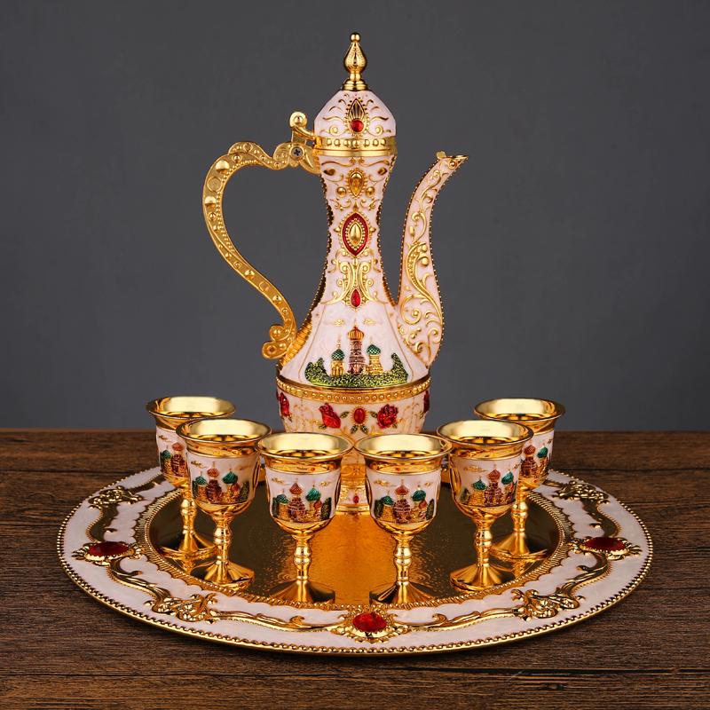 欧式酒具金属酒壶酒杯套装创意客厅家居装饰摆件复古俄罗斯老酒壶