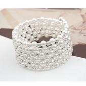 夏季韩版 流行时尚 多层珍珠水钻宽手镯手饰女学生手链手环简约 包邮图片
