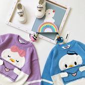 上衣儿童宝宝鸭子毛衣外套 男女童洋气卡通针织衫 ins童装 秋冬新款图片
