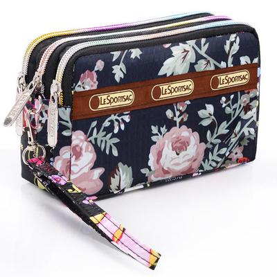 2018新款多层手拿包钱包三层拉链帆布零钱包女士女式小手包零钱夹