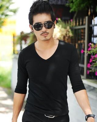春夏7分袖紧身莱卡短袖T恤男V领中袖修身纯棉打底衫韩版上衣男潮2018新款