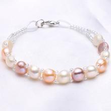 天然淡水珍珠手链多层小晶隔珠扁圆馒头圆珍珠手链时尚手饰饰品
