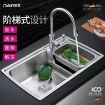 不绣钢洗菜柜子排水口水槽架水池多用操作台不锈钢洗菜盆水池子