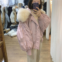Bubble-sleeved down jacket with big fur collar for women's short loose small Lantern Sleeve Jacket