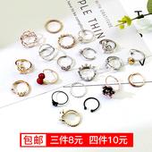 简约清新指环饰品日韩潮人尾戒小指学生食指男女情侣戒指纯银对戒
