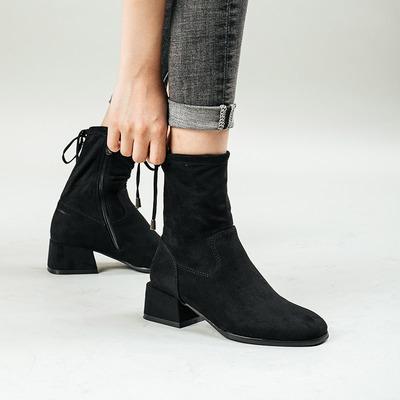 妙侣2018秋冬新款瘦瘦靴短靴女粗跟中跟欧美女靴圆头侧拉链骑士靴