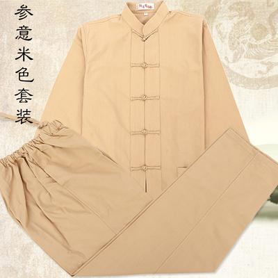 纯棉唐装套装男士老粗布居士服中国风立领盘扣春秋款太极服功夫衫