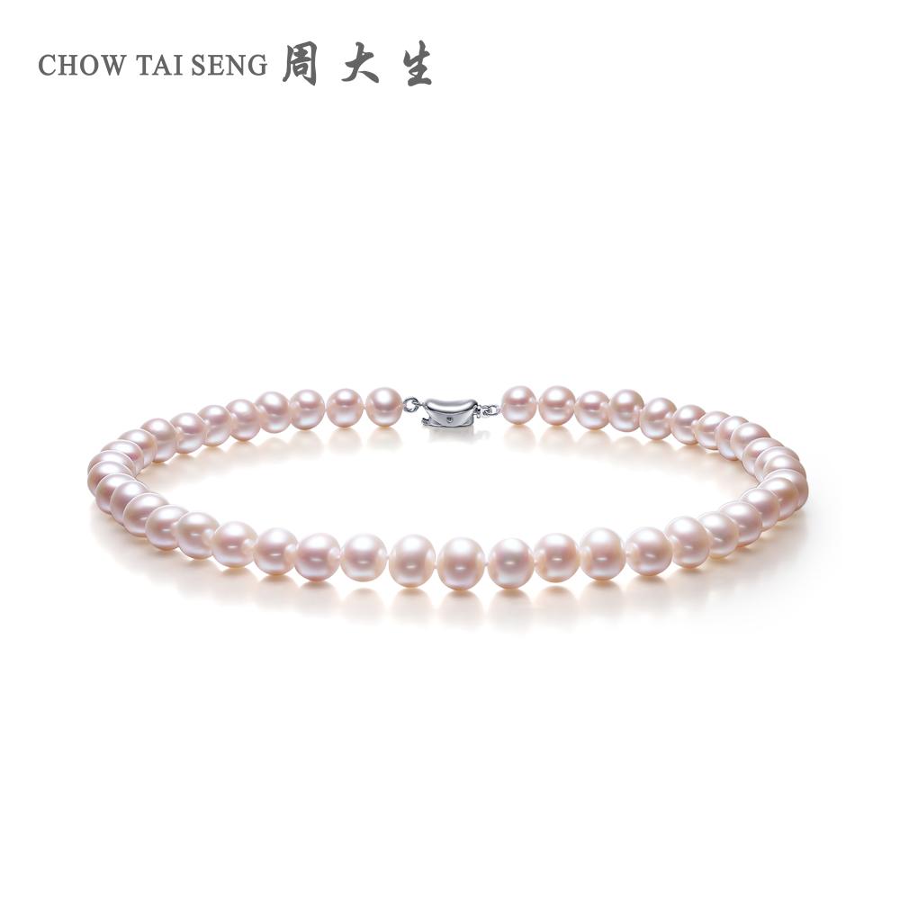 周大生珍珠项链正品近正圆白色淡水锁骨链珠宝女送妈妈珍珠首饰