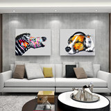 Hand-painted oil painting modern minimalist living room painting zebra gorilla Nordic abstract decorative painting animal mural painting