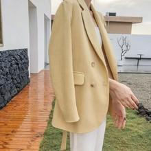 宽松简约气质系带双排扣休闲西装 韩版 鹅黄色西服外套2019秋冬新款