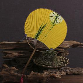 日式团扇圆面扇 竹柄 和风 复古 纳凉扇 老竹 手工蜡染布面扇子