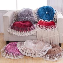 欧式奢华蕾丝花边南瓜抱枕 靠垫 金丝绒圆形枕高档沙发家居靠枕