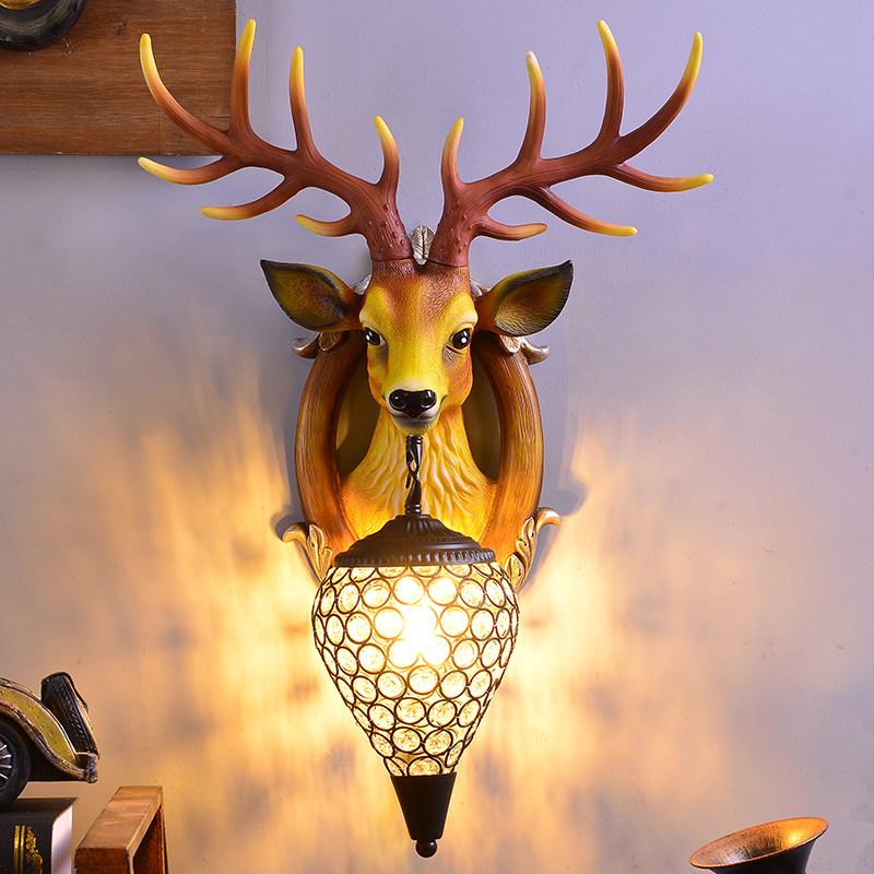 招财鹿角壁灯北欧式客厅电视背景墙床头个性创意鹿头墙壁灯装饰品